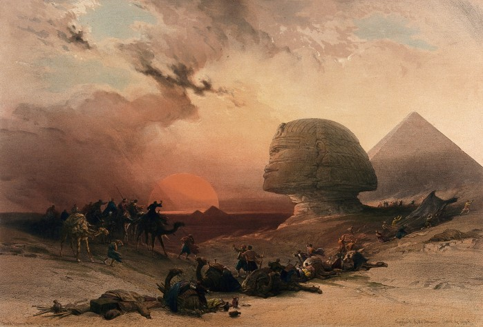 V0049386 Sandstorm approaching the sphinx at Gîza at sunset, Egypt. C