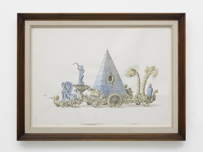Pablo Bronstein, Festival Cart in the Egyptian Taste, 2018, Ink and watercolour on paper, artist's frame, 61.1 x 46.3 x 4 cm, courtesy of the artist and Herald Street, London.jpg