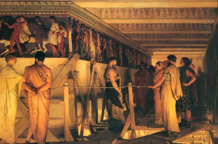 1085px-1868_Lawrence_Alma-Tadema_-_Phidias_Showing_the_Frieze_of_the_Parthenon_to_his_Friends
