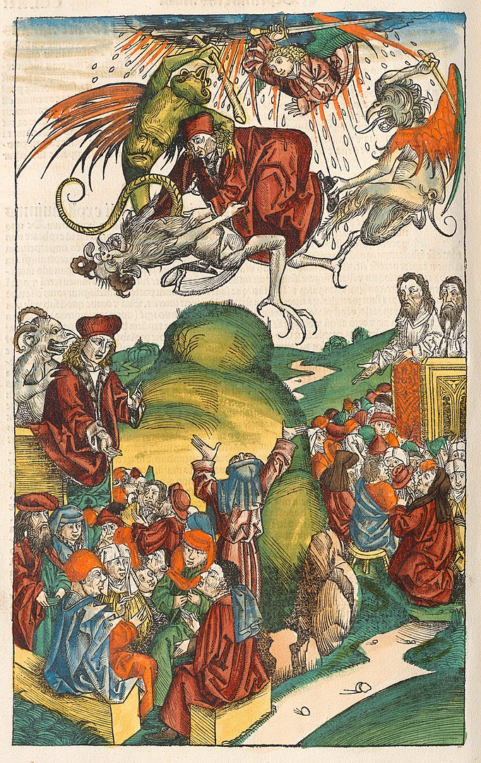 A printed image painted with color showing Simon Magus attacked by Angels