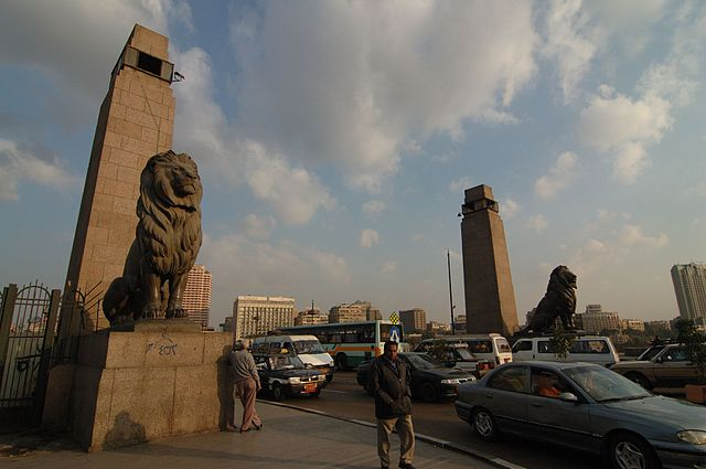 Lions and obelisks on the Qasr El Nil Bridge