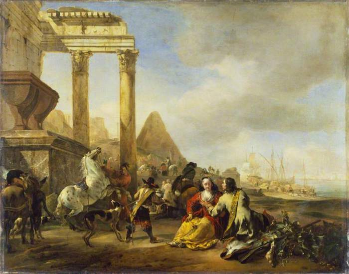 Weenix, Jan Baptist, 1621-1660/1661; A Coast Scene with Classical Ruins